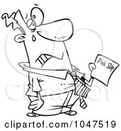 Royalty Free RF Clip Art Illustration Of A Cartoon Black And White Outline Design Of A Sad Businessman Holding A Pink Slip