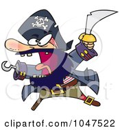 Royalty Free RF Clip Art Illustration Of A Cartoon Attacking Pirate by toonaday