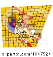 Royalty Free RF Clip Art Illustration Of A Cartoon Businessman Going Down On A Plummeting Graph by toonaday