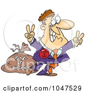 Royalty Free RF Clip Art Illustration Of A Cartoon Politician With A Bag Of Tricks by toonaday