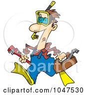Royalty Free RF Clip Art Illustration Of A Cartoon Plumber Wearing Goggles And Fins