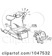 Royalty Free RF Clip Art Illustration Of A Cartoon Black And White Outline Design Of A Mail Man Running From A Dog by toonaday