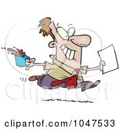 Royalty Free RF Clip Art Illustration Of A Cartoon Businessman Fetching Coffee And Paperwork by Ron Leishman
