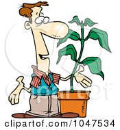 Royalty Free RF Clip Art Illustration Of A Cartoon Guy With A Potted Plant