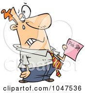 Royalty Free RF Clip Art Illustration Of A Cartoon Sad Businessman Holding A Pink Slip