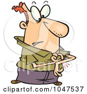 Royalty Free RF Clip Art Illustration Of A Cartoon Man Pinching His Arm