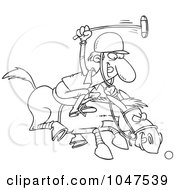 Cartoon Black And White Outline Design Of A Polo Player