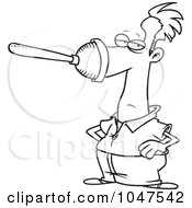 Royalty Free RF Clip Art Illustration Of A Cartoon Black And White Outline Design Of A Plunger On A Mans Nose