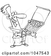 Royalty Free RF Clip Art Illustration Of A Cartoon Black And White Outline Design Of A Happy Man With Pizza by toonaday