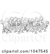 Royalty Free RF Clip Art Illustration Of A Cartoon Black And White Outline Design Of A Group Of Pipers by toonaday