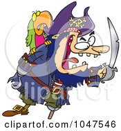 Cartoon Tough Pirate And Bird