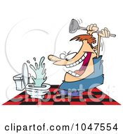 Royalty Free RF Clip Art Illustration Of A Cartoon Man Attacking A Toilet With A Plunger