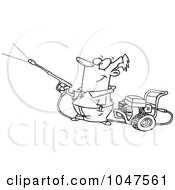 Royalty Free RF Clip Art Illustration Of A Cartoon Black And White Outline Design Of A Guy Using A Pressure Washer