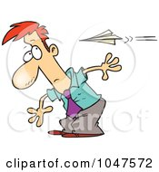 Royalty Free RF Clip Art Illustration Of A Cartoon Man Moving To Avoid A Paper Plane by toonaday