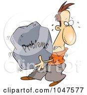 Cartoon Man Carrying A Heavy Problem Rock