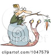Royalty Free RF Clip Art Illustration Of A Cartoon Businessman Progressing A Snail With A Carrot by toonaday