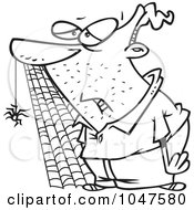 Royalty Free RF Clip Art Illustration Of A Cartoon Black And White Outline Design Of A Slow Man With A Spider And Web