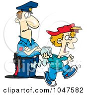 Royalty Free RF Clip Art Illustration Of A Cartoon Cop Watching A Boy Throw Toilet Paper