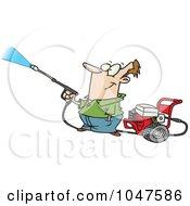 Cartoon Guy Using A Pressure Washer