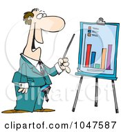 Royalty Free RF Clip Art Illustration Of A Cartoon Businessman Discussing A Bar Graph by toonaday