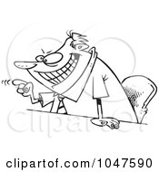 Royalty Free RF Clip Art Illustration Of A Cartoon Black And White Outline Design Of A Businessman Pointing His Finger Angrily