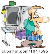 Cartoon Computer Programmer In His Office