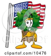 Tree Mascot Cartoon Character Pledging Allegiance To An American Flag