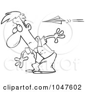 Royalty Free RF Clip Art Illustration Of A Cartoon Black And White Outline Design Of A Man Moving To Avoid A Paper Plane by toonaday