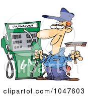 Royalty Free RF Clip Art Illustration Of A Cartoon Gas Station Attendant by toonaday