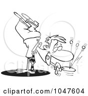 Royalty Free RF Clip Art Illustration Of A Cartoon Black And White Outline Design Of A Businessman Doing A Handstand And Playing Paddle Ball by toonaday