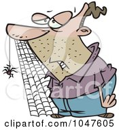 Royalty Free RF Clip Art Illustration Of A Cartoon Slow Man With A Spider And Web by toonaday