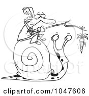 Royalty Free RF Clip Art Illustration Of A Cartoon Black And White Outline Design Of A Businessman Progressing A Snail With A Carrot by toonaday