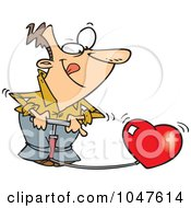 Royalty Free RF Clip Art Illustration Of A Cartoon Man Pumping Up A Heart