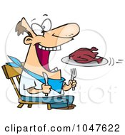 Royalty Free RF Clip Art Illustration Of A Cartoon Turkey Flying Into A Mans Mouth by toonaday