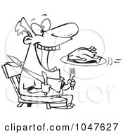 Royalty Free RF Clip Art Illustration Of A Cartoon Black And White Outline Design Of A Turkey Flying Into A Mans Mouth