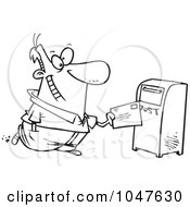 Royalty Free RF Clip Art Illustration Of A Cartoon Black And White Outline Design Of A Man Sending Off Mail