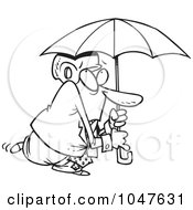 Royalty Free RF Clip Art Illustration Of A Cartoon Black And White Outline Design Of A Paranoid Businessman Wearing A Helmet Under An Umbrella