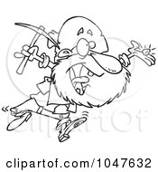Cartoon Black And White Outline Design Of A Happy Prospector