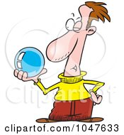 Royalty Free RF Clip Art Illustration Of A Cartoon Guy Gazing Into A Crystal Ball