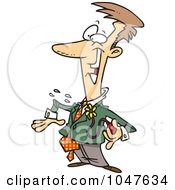 Royalty Free RF Clip Art Illustration Of A Cartoon Pranking Businessman With A Squirting Flower