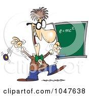 Cartoon Professor By A Chalkboard