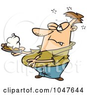 Royalty Free RF Clip Art Illustration Of A Cartoon Chubby Man With Pumpkin Pie