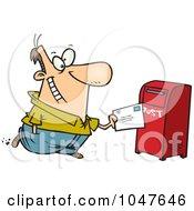 Royalty Free RF Clip Art Illustration Of A Cartoon Man Sending Off Mail