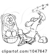 Royalty Free RF Clip Art Illustration Of A Cartoon Black And White Outline Design Of A Man Being Beat Up By A Blow Up Punching Bag