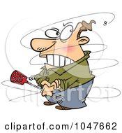 Royalty Free RF Clip Art Illustration Of A Cartoon Fly Annoying A Guy by toonaday