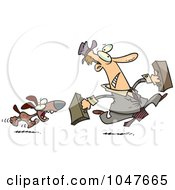 Royalty Free RF Clip Art Illustration Of A Cartoon Dog Chasing A Salesman by toonaday