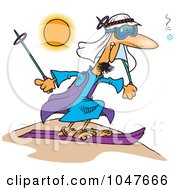 Royalty Free RF Clip Art Illustration Of A Cartoon Guy Sand Skiing by toonaday
