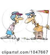 Royalty Free RF Clip Art Illustration Of A Cartoon Retired Couple Golfing