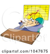 Royalty Free RF Clip Art Illustration Of A Cartoon Satisfied Businessman Smoking A Cigar By A Chart