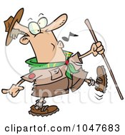 Royalty Free RF Clip Art Illustration Of A Cartoon Whistling Scout Master